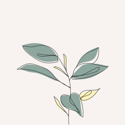 Póster Plant leaves continuous line drawing. One line . Hand-drawn minimalist illustration, vector.