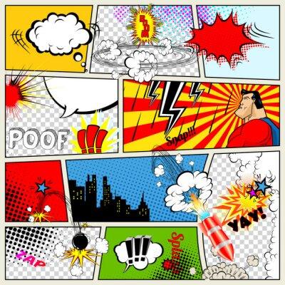 Póster Plantilla Comics. Vector retro del cómic Speech Bubbles