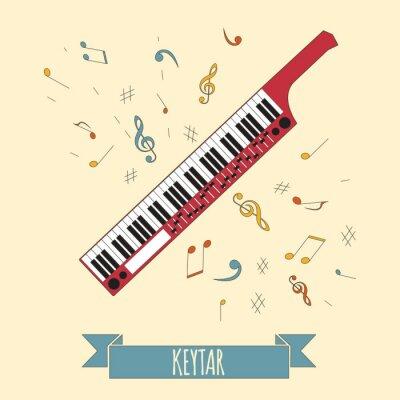 Póster Plantilla de gráficos de instrumentos musicales. Keytar.