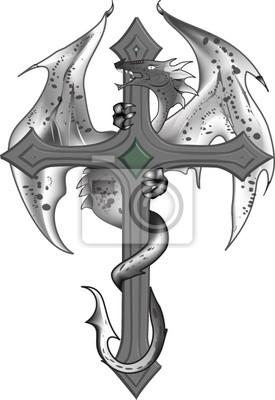 Plantilla De La Cruz Dragon Tattoo Carteles Para La Pared Pósters