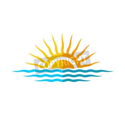 Póster Plantilla de logotipo de viaje. Sol con las olas del mar.