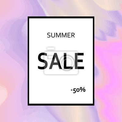 Póster Plantilla de venta de verano diseñado en el fondo abstracto holográfico. Ilustración vectorial moderna con niebla y textura dorada