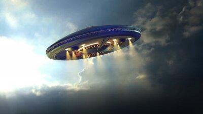 Póster Platillo del UFO del extranjero Volar a través de las nubes por encima de la Tierra