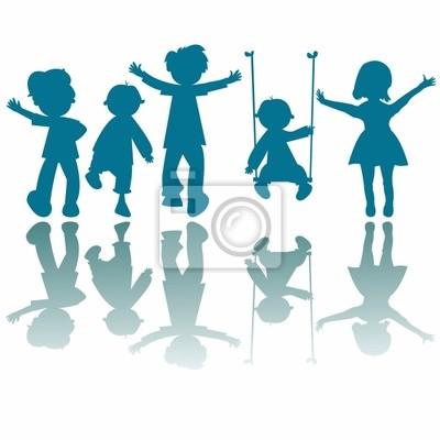 poco felices los niños siluetas