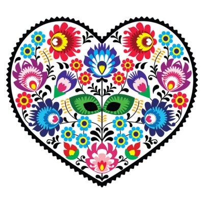 Póster Polaco del arte popular del corazón del arte con las flores - Lowickie wzory