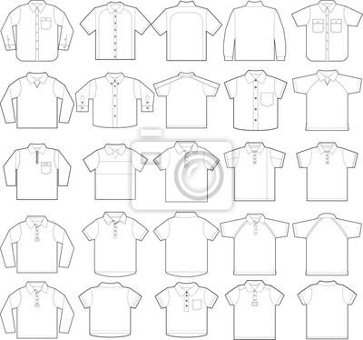 Polo y abajo abotonar plantillas vectoriales camisas de esquema