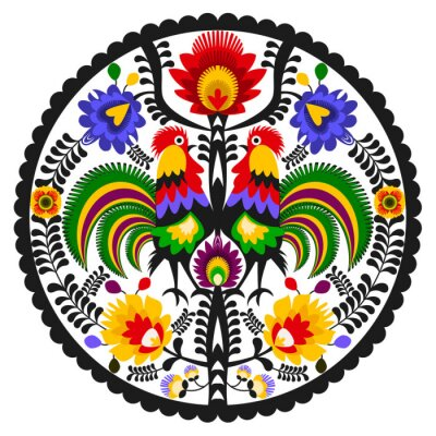 Póster Polski folklor - okrągły wzór Ludowy