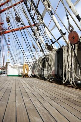 ponton, cordeles, vieux, voilier, bateau, corde