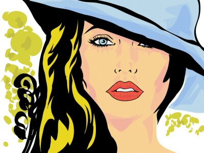 Póster pop art femme chapeau visage,tête