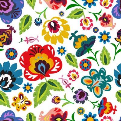 Póster Popular polaca tradicional patrón floral vector