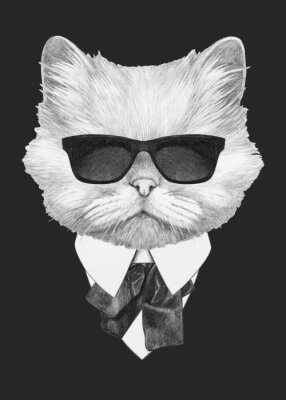 Póster Portrait of Persian Cat in suit. Hand-drawn illustration. Vector isolated elements.