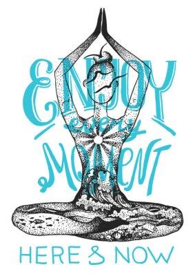 Póster Pose de meditación de yoga Gráfico gráfico dibujado a mano ilustración