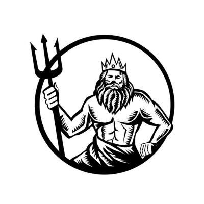 Poseidon Holding Trident Circle Woodcut Black and White