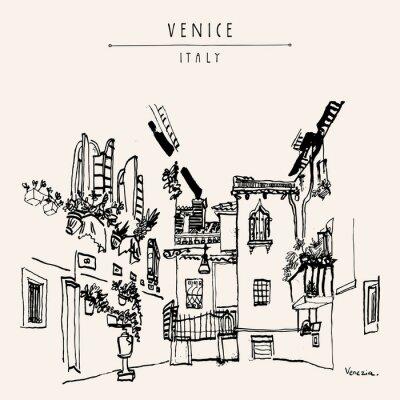 Póster Postal de la mano del vintage de Venecia Italia Europa