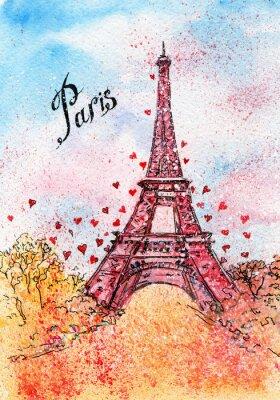Póster Postal del vintage. Ilustración de la acuarela. París, Francia, Torre Eiffel