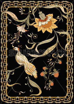 Póster Poster, background with flowers and bird in art nouveau style, vintage, old, retro style. Stock vector illustration. On black background.