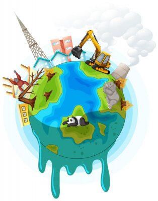 Póster Poster design with global warming problem