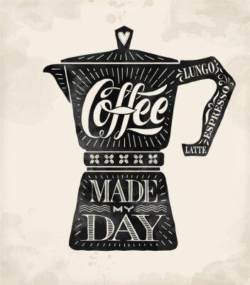 Póster Poster moka de cafetera con letras dibujadas a mano