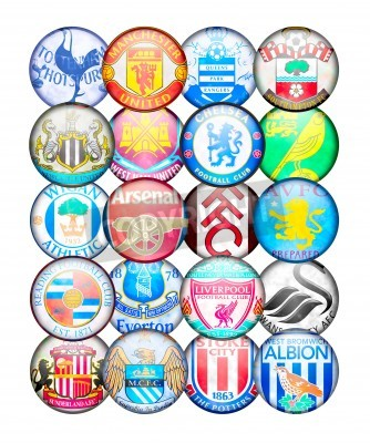 Póster Premier League Teams 2012/13: Colors and badges of English Football Clubs