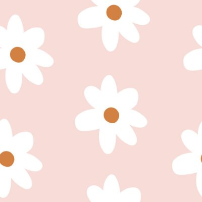 Póster Pretty Repeat Vector Daisy Flower Pattern with pink background. Seamless floral pattern. Stylish repeating texture.