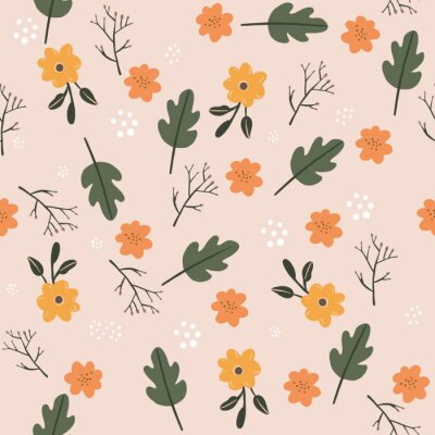 Póster Pretty Seamless pastel pink flower floral leaf pattern. Stylish repeating texture. stylish Fall colors.