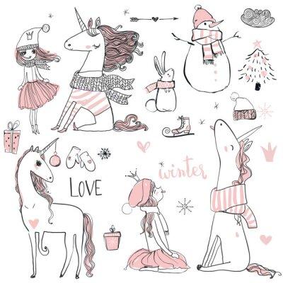 Póster Princesa del doodle con el unicornio
