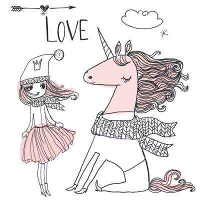 Póster Princesa del doodle con unicornio
