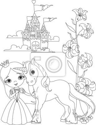 Princesa hermosa y unicornio para colorear carteles para la pared ...