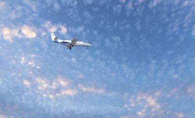 Private Jet PLane durante el aterrizaje
