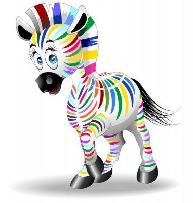 Póster Proceso Zebra Cartoon Quadricromia-Four color Zebra-Vector