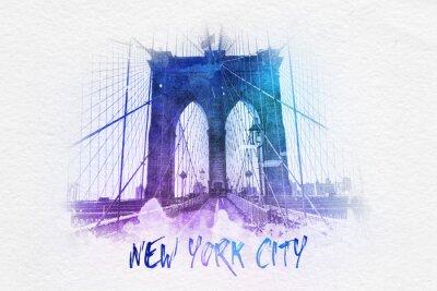 Póster Puente de Brooklyn con el texto de Nueva York