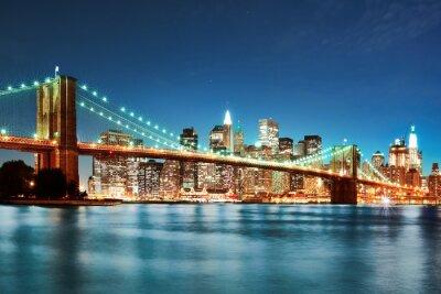 Póster Puente de Brooklyn en la noche