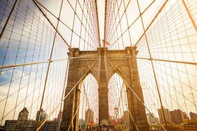 Póster Puente de Brooklyn y horizonte de Manhattan