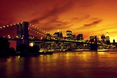 Póster Puente de Brooklyn y Manhattan al atardecer, Nueva York