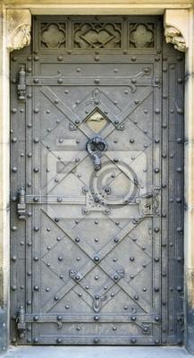 Póster puerta de metal
