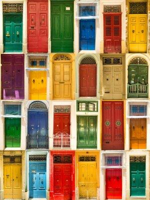 Póster puertas de entrada a las casas de colores