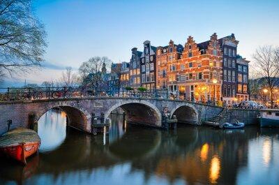 Póster Puesta de sol en Amsterdam, Países Bajos