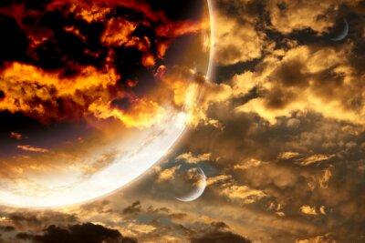 Póster Puesta del sol en el cielo de la tormenta y el planeta extranjero