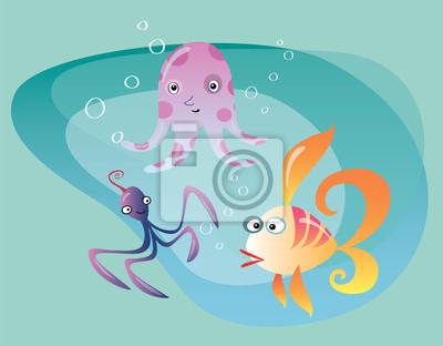 Pulpo sepia vida marina bajo el agua y los peces