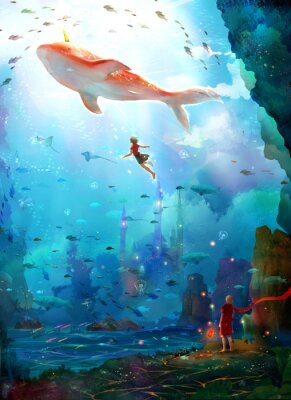 Póster Pure, literary, small and fresh, illustrations, beautiful women, girls, girls, fairy tales, dreams, fantasies, dreams, cities, castles, seabed, whales, deep sea, girls, schools of fish, oceans,