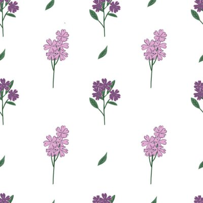 Póster Purple wildflowers pattern. Vector illustration. Stylish repeating texture. Hand-drawn.
