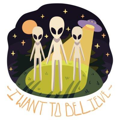Póster Quiero creer vector póster (fondo) con los extranjeros en la colina y el OVNI en la noche con luna llena y estrellas (estilo de dibujos animados)