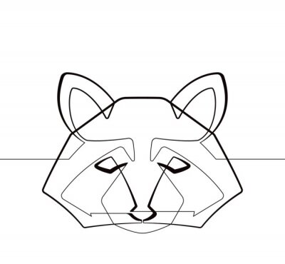 Raccoon One Continuous line Abstract Vector Graphic Illustration Animal Icon