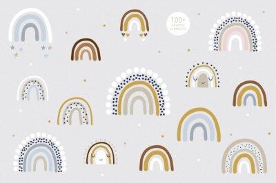 Póster Rainbow pattern kids decor white background logo design background fashion wedding invitation christmas card retro christmas winter poster font wedding abstract christmas logo flyer brochure