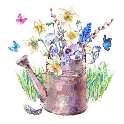 Póster Ramo de primavera con narcisos, pansies, muscari y mariposas