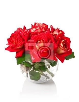 Ramo de rosas en un florero