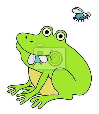 Rana comiendo mosca gorda divertida ilustracin de dibujos