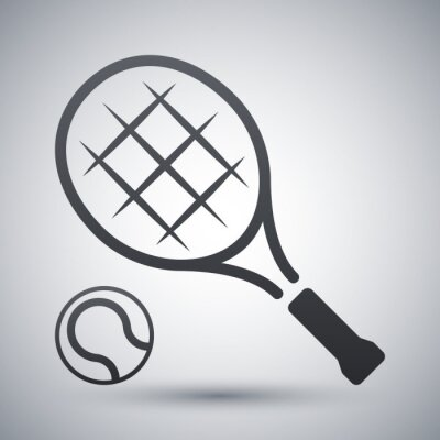 Póster Raqueta de tenis y pelota de tenis, icono de vector