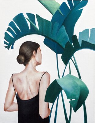 Póster realistic acrylic painting of woman with green plants