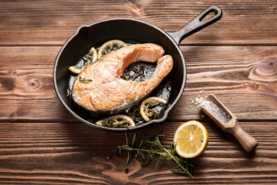 Póster Rebanada de salmón frito
